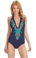 Laundry By Shelli Segal Ibiza Halter One Piece Swimsuit - Lyst
