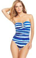 La Blanca Striped Bandeau One Piece Swimsuit - Lyst