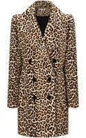 Carven Leopard Wool Printed Coat - Lyst