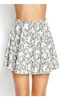 Forever 21 Textured Floral Skater Skirt - Lyst