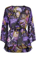 Roberto Cavalli Floral Silk Kaftan Blouse - Lyst