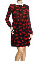 Saint Laurent Sshirtto Georgette Print Bocca Dress - Lyst