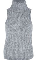 River Island Grey Fluffy Ribbed Turtle Neck Top - Lyst