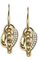 Michael Kors Goldtone Topaz Baguette and Pavé Link Drop Earrings - Lyst