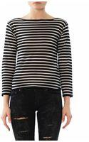 Saint Laurent Fine Knit Breton Stripe Sweater - Lyst
