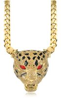 Roberto Cavalli Panther Golden Necklace Wcrystals and Glaze - Lyst
