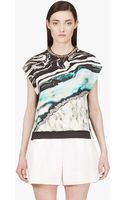 3.1 Phillip Lim Navy Rock and Wood Marbelized Geode Print Tank Top - Lyst