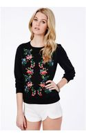 Missguided Honorata Embroidered Floral Sweatshirt - Lyst