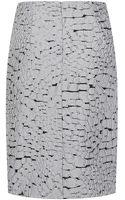 Nina Ricci Croc Textured Pencil Skirt - Lyst
