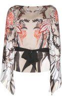 Roberto Cavalli Printed Silk Top - Lyst