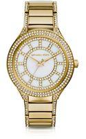 Michael Kors Midsize Golden Stainless Steel Kerry Threehand Glitz Watch - Lyst