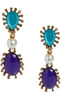 Oscar de la Renta Multi Cabochon Teardrop Earrings Multi Cabochon Teardrop Earrings - Lyst