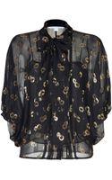 Diane Von Furstenberg Blackgold Silk Chiffon Joanne Top - Lyst