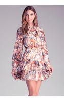 Bebe Print Ruffle Tier Dress - Lyst