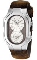 Philip Stein Large Swiss Signature Watch with Beige Dial On Brown Assolutamente Strap - Lyst