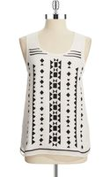 Vince Camuto Petite Tribal Tank - Lyst