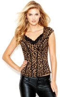 Guess Cap-sleeve Leopard-print Corset Top - Lyst