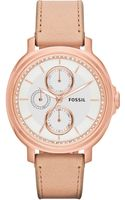 Fossil Womens Chelsey Tan Leather Strap Watch 39mm - Lyst