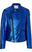 3.1 Phillip Lim Cobalt Leather Motorcycle Jacket - Lyst