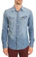 Wrangler Western Washed Blue Shirt - Lyst