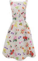Oscar de la Renta Jewel Neck Print Dress with Pleat Skirt - Lyst