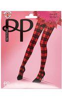 River Island Red Pretty Polly Tartan Tights - Lyst