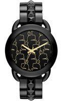 Karl Lagerfeld Womens Blacktone Stainless Steel Studded Bracelet Watch 40mm - Lyst
