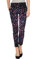 Versace Floral Printed Crepe Trouser - Lyst