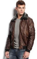Guess Faux Leather Aviator Jacket - Lyst