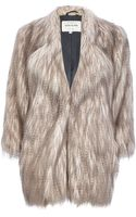 River Island Silver Long Pile Faux Fur Coat - Lyst