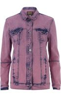 River Island Pink Acid Wash Denim Jacket - Lyst