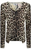 Moschino Cheap & Chic Vneck Leopard Rose Sweater - Lyst