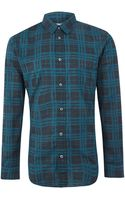 Maison Martin Margiela Blue Grid Check Print Cotton Shirt - Lyst