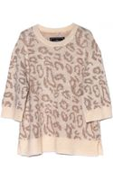 By Malene Birger Leopard Cream Metallic Sweater - Lyst