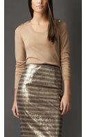 Burberry Bow Detail Merino Wool Sweater - Lyst