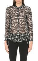 The Kooples Sport Printed Cotton and Silk-blend Shirt - Lyst