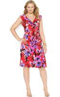 Lauren by Ralph Lauren Plus Size Cap Sleeve Floral Print Ruched Dress - Lyst