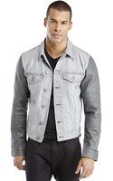 J Brand Grey Mixed Media Denim Jacket - Lyst