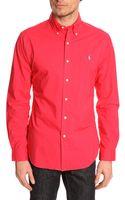 Polo Ralph Lauren Red Poplin Slim Fit Shirt - Lyst