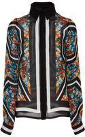 Elie Saab Printed Double Silk Georgette Long Sleeve Blouse - Lyst