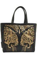 Roberto Cavalli Flo Jaguar Print Leather Tote Bag - Lyst