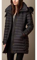 Burberry Fur Trim Downfilled Puffer Coat - Lyst