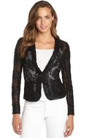 Nanette Lepore Black Embroidered Lace and Mesh New Wave Jacket - Lyst