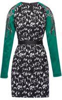 Antonio Berardi Printed Jacquard Sheath Dress with Embroidered Sleeves - Lyst