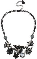 Betsey Johnson Blackout Dragonfly Flower Cluster Necklace - Lyst