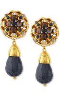 Jose & Maria Barrera 24k Plated Navy Jade Clipon Earrings - Lyst