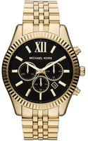 Michael Kors Oversized Golden Stainless Steel Lexington Threehand Watch - Lyst