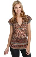 Lucky Brand Autumn Mixed Print Top - Lyst