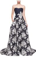Carolina Herrera Strapless Lace-print A-line Gown - Lyst