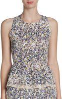 Pjk Patterson J. Kincaid Floral Silk Peplum Top - Lyst